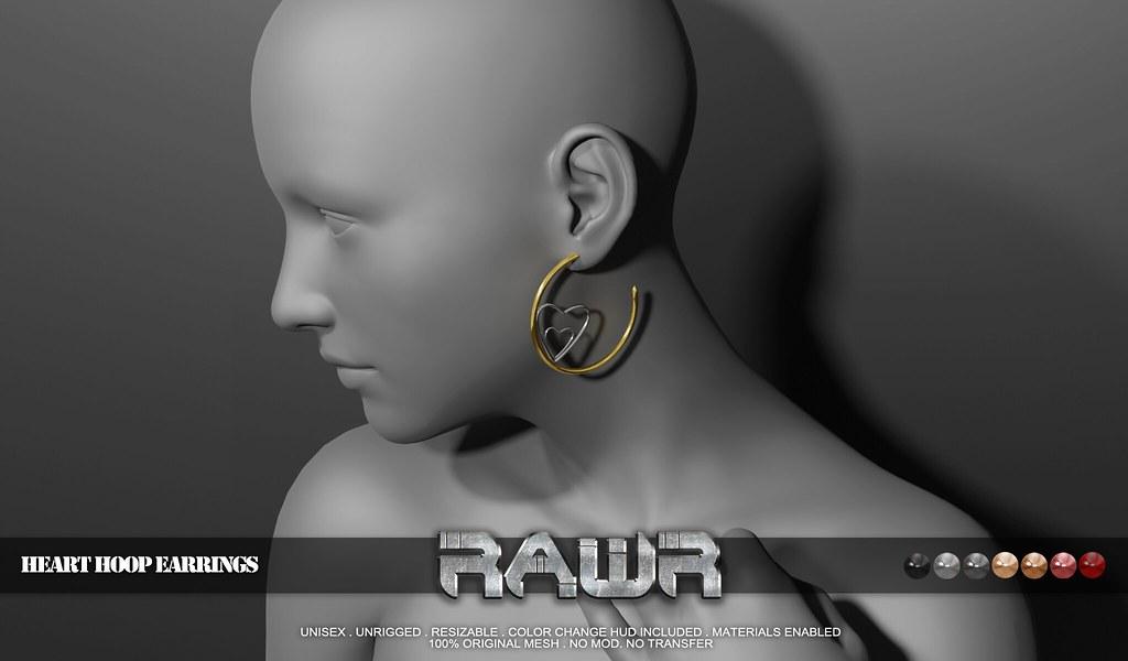 RAWR!  Heart Hoop Earrings