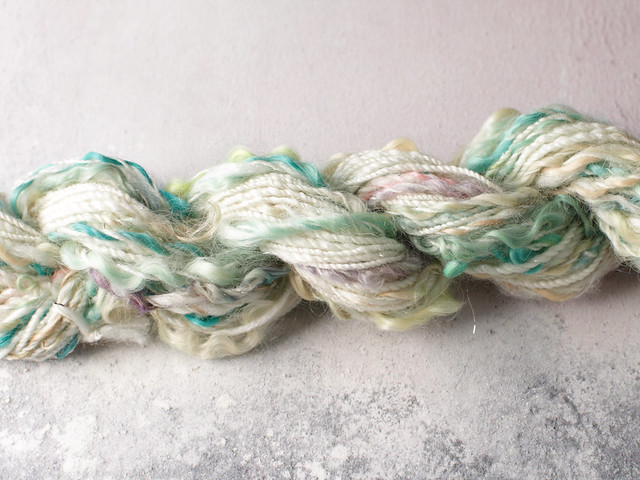 Handspun Merino, Silk, Stellina, Wool Locks Art Yarn 20g – natural white, sparkle, turquoise, pastels