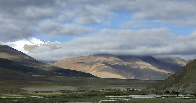 Small town in a vast landscape, Tibet 2019