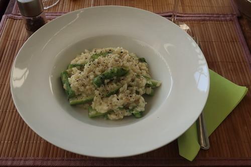 Risotto mit grünem Spargel und Ziegenkäse (mein Teller)