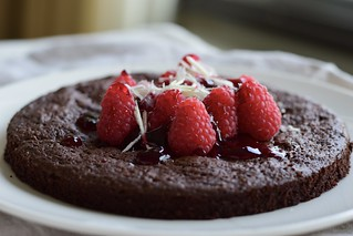 Fudgy and flourless chocolate cake