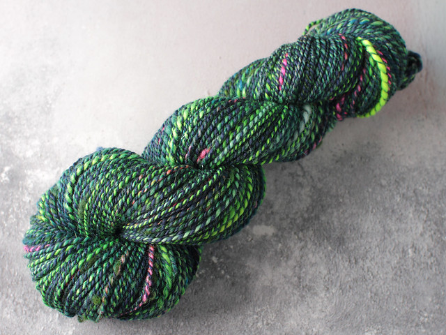 Handspun merino wool, bamboo and mixed fibres heavy DK / worsted yarn 87g – blue-green and neon