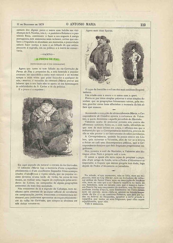 «A Perna de Pau», in «O Antonio Maria», N.º 28, 11 de Dezembro de 1879