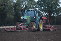 John Deere 6175R Tractor with a Kuhn LC402 Venta Seed Drill, Kuhn Power Harrow & HEVA Front-Pakker Front Press