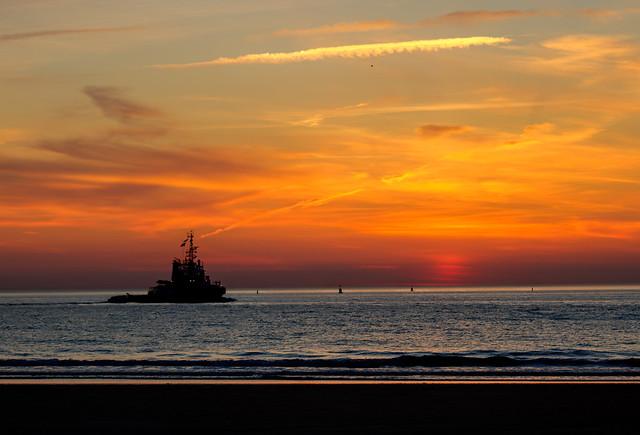 Kort na zonsondergang in Scheveningen