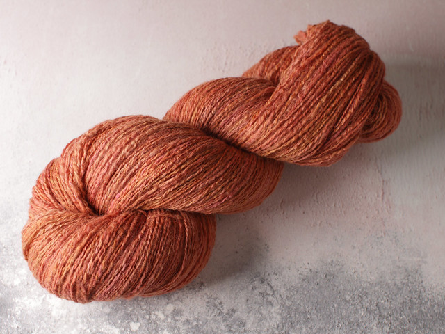 Handspun light 4 ply / fingering weight 100% Merino wool yarn 115g natural dyed with madder