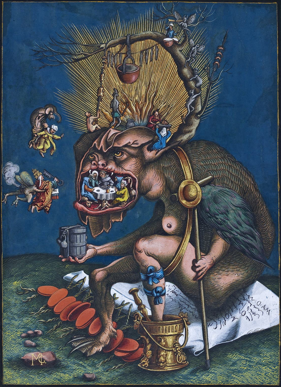 Matthias Gerung, Satire of Indulgences, colored woodcut, before 1536