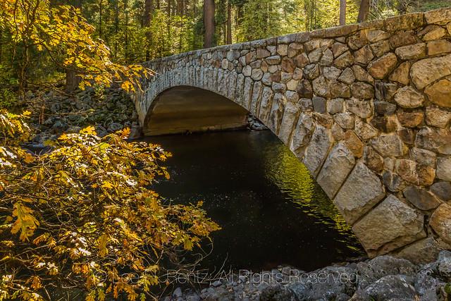 Pohono Bridge over the Merced River in Yosemite Valley