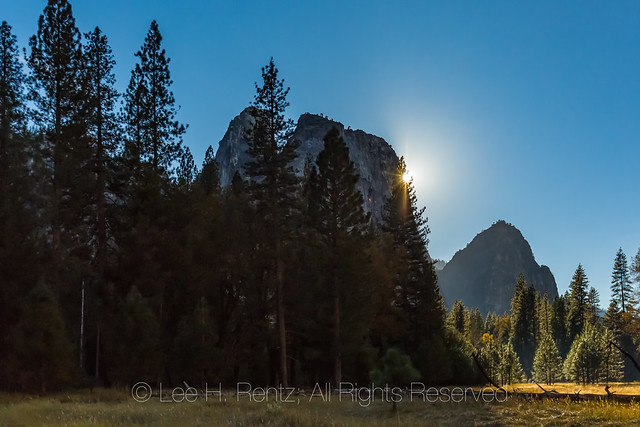Sun Setting behind Middle Cathedral Rock in Yosemite Valley