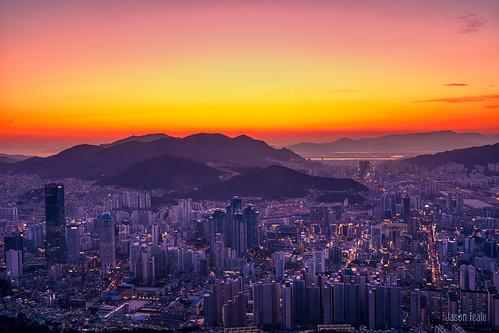 busan sunset cityscape canon korea travel hwanyeongsan