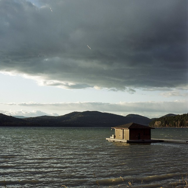 Windy lake and dock house