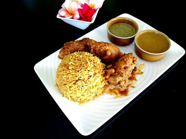 Payung Cafe's chicken biryani with shorba & mint chutney