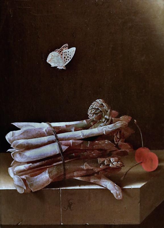 IMG_1647G Adriaen Coorte 1659-1707 Middelburg Nature morte avec un paquet d'asperges, des cerises rouges et un papillon Still life with a bundle of asparagus, red cherries and a butterfly c 1695 Zürich Kunsthaus