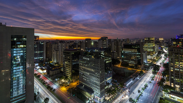 Colourful Sky and Clouds above Sao Paulo