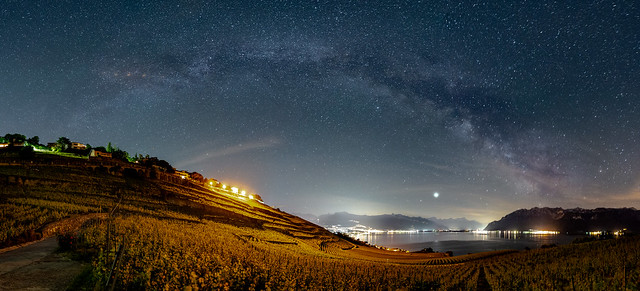 Milky Way Bow over Lavaux and Lake Leman, Switzerland