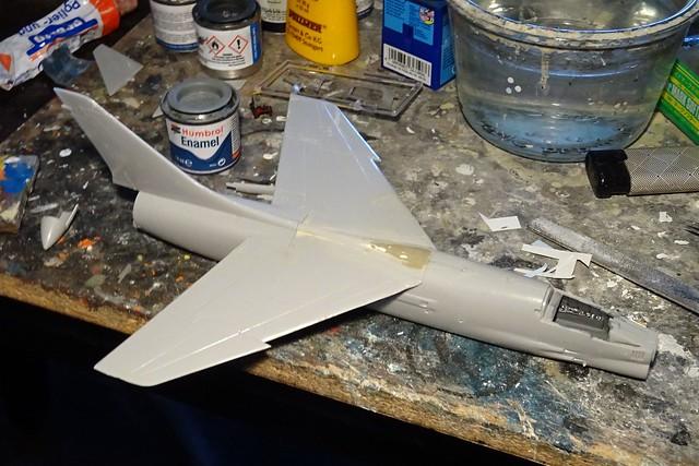 "1:72 Vought F-8Q ""Crusader"", aircraft ""3-A-102"" (s/n 133828)"" of the 3 Escuadrilla Aeronaval de Caza y Ataque, Comando de Aviacion Naval Argentina; BAN Rio Grande/ARA Veinticinco de Mayo (V-2), 1981 (Whif/Hasegawa kit) - WiP"