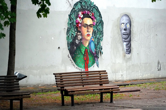 The Bench and the Mural in Vilnius