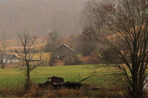 northcarolina pasture barn appalachia autumn fall rain oldtruck muted landscape