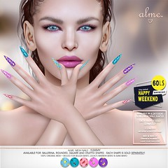 "Alme. in Second Life for 60L$ Happy Weekend sale May 23-24 ""Alme Mesh Nails// Yummy in 4 shapes!"