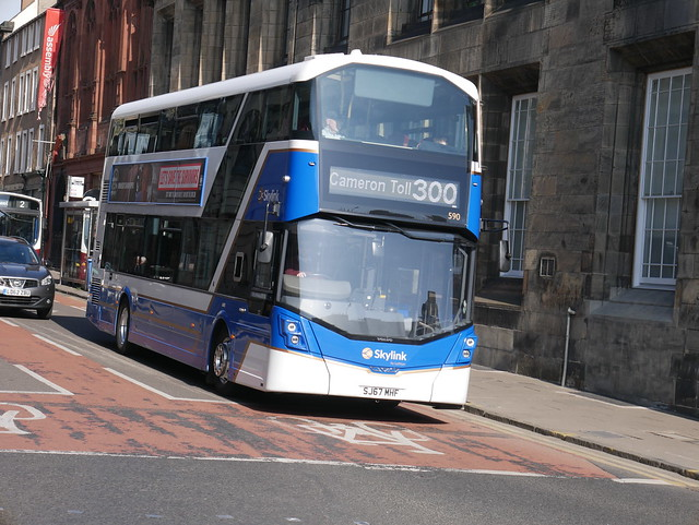 Lothian Volvo B5LH (Euro 6) Wright Eclipse Gemini 3 SJ67MHF 590, in Skylink livery, operating service 300 to Cameron Toll at Bristo Place on 1 April 2019.