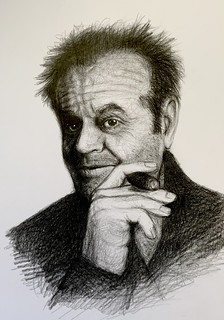 Portrait of Jack Nicholson. American Actor, and Filmmaker. Black graphite and Polychromos pencil drawing by jmsw.