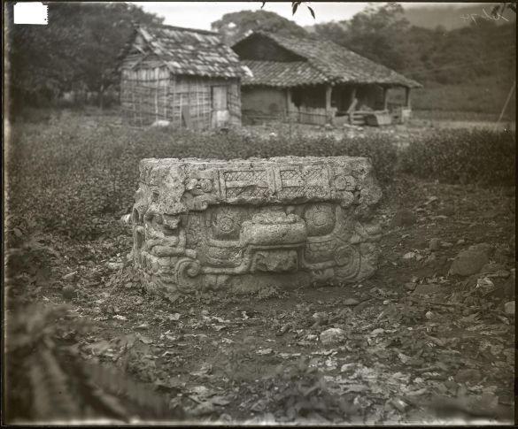 AlfredPercivalMaudslayBritishMuseumGlassNegativeFrontviewOfAltarUCopánHonduras1890-1891