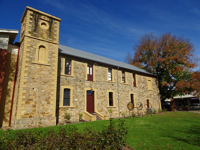 Hahndorf Adelaide Hills. Hahndorf Academy. Opened 1857. Upper floor added 1871 and tower 1872.  Sold to Lutheran Church in 1877. Closed as college 1912 and became a hospital. Now a museum and art gallery. .