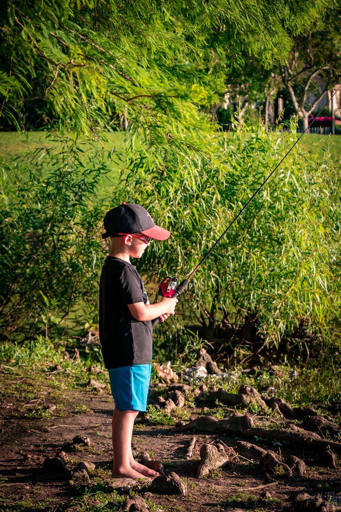 Shy Pond fisherman in Lake jackson