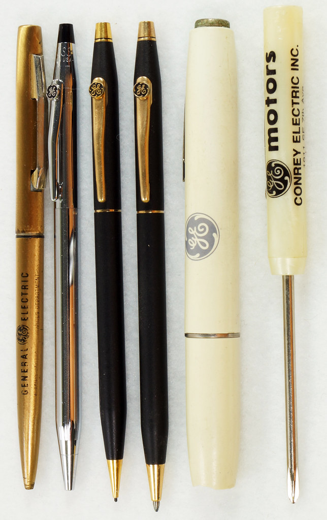 RD21486 Vintage Advertising General Electric GE Cross Ink Pens, Screwdriver & Flashlight DSC05393