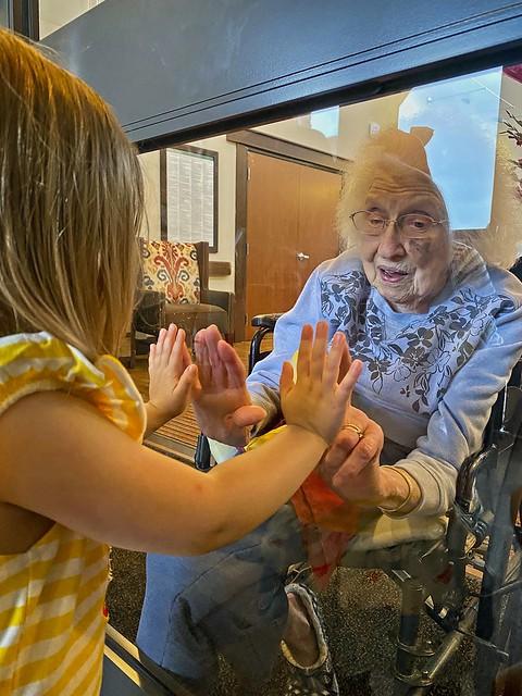Mabel Fern (2 1/2) celebrates Great's 98th Birthday