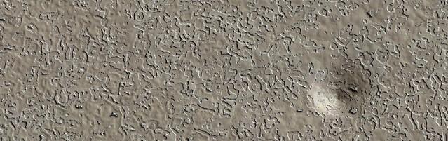 Mars - South Polar Residual Cap Swiss Cheese Terrain with Pit
