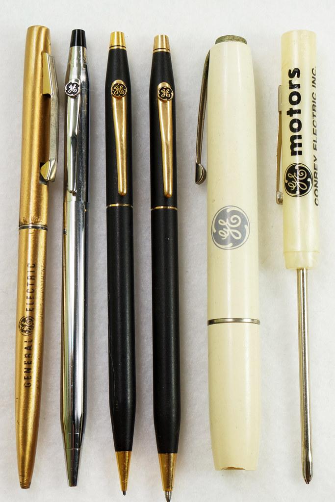 RD21486 Vintage Advertising General Electric GE Cross Ink Pens, Screwdriver & Flashlight DSC05392