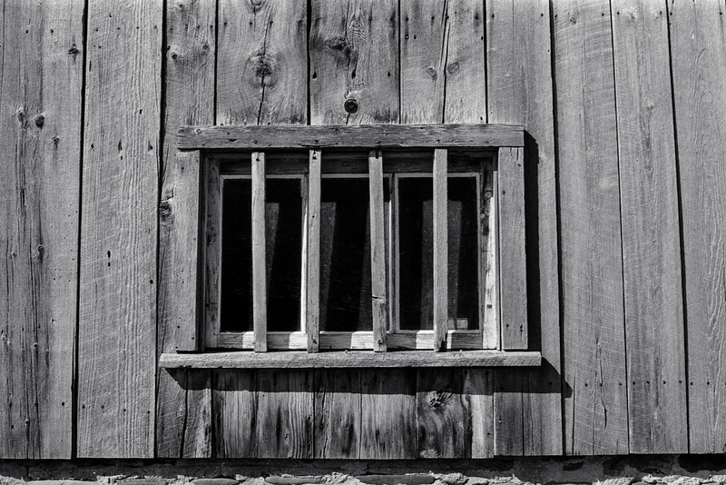 Barn Window with Wooden Bars