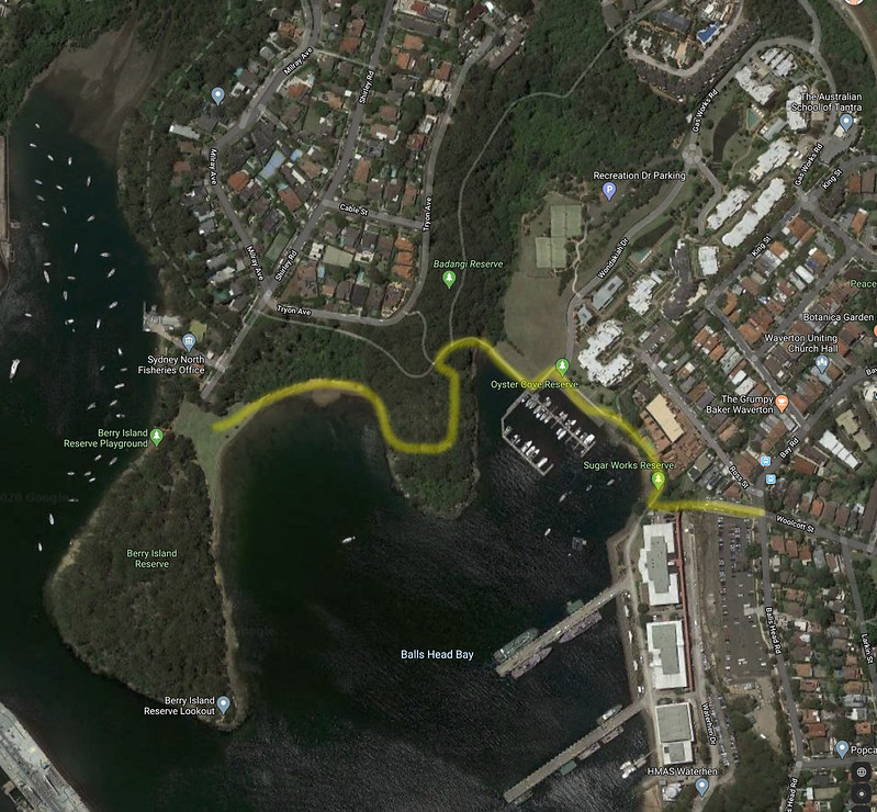 Map of Balls Head Bay walk
