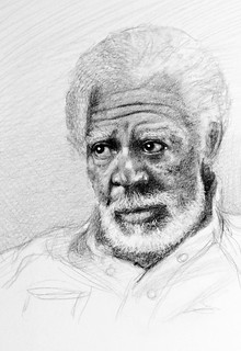 Preview. A work in progress of Morgan Freeman. Graphite and Polychromos pencil drawing by jmsw. Highlights in gouache.