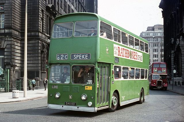 Merseyside PTE . ( City of Liverpool Corporation Transport ) . L540 540KD . ( near ) Pier Head , Liverpool . Monday lunchtime 22nd-June-1970 .