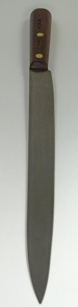 RD28322 Rare Antique Dexter Carbon Steel Slicing Knife 44910HG Long 10 inch Blade DSC05477