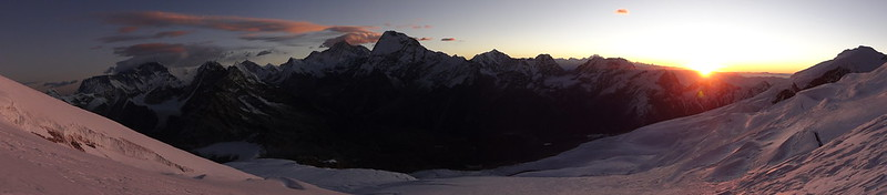 Sunrise over the Hongu Valley, Mera Peak panorama