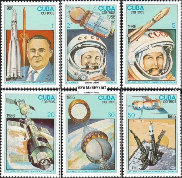 Známky Kuba 1986 Deň kozmonautiky nerazítkovaná séria MNH