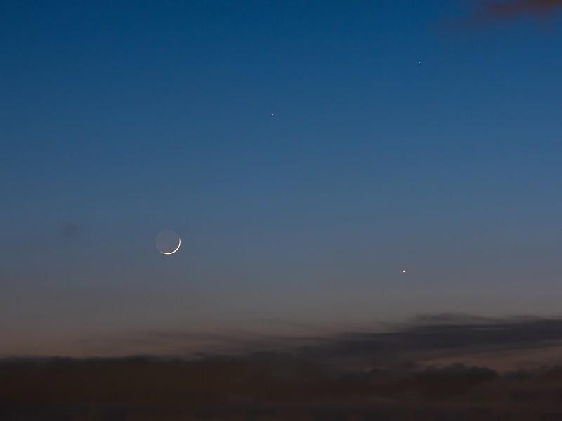 二日月、水星、金星 (2020/5/24 19:37)