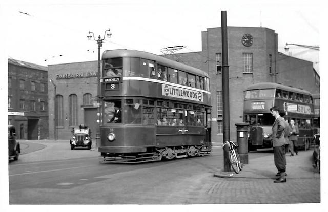 Leeds tram No. 281 and AEC Regent No. 415