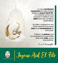 """À vous, concitoyens musulmans du #Togo et de la diaspora, joyeux Aid El Fitr. #RamadanMubarak #AidMubarak  #AïdElFitr""  Faure Gnassingbe"