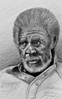Morgan Freeman. Actor. Pencil drawing by jmsw, just for fun.