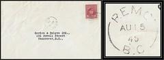 British Columbia / B.C. Postal History - 15 August 1945 - REMO, B.C. (split ring / broken circle cancel / postmark) to Vancouver, B.C.