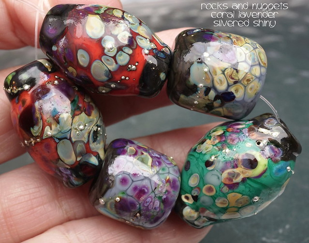 Rocks and Nuggets Coral Lavender Silvered Shiny