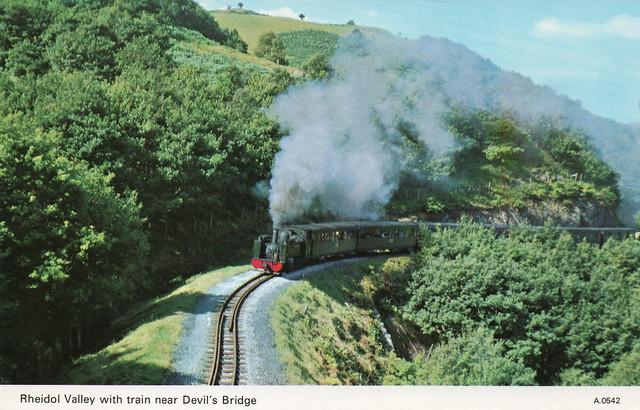 UK - Rheidol Valley with train near Devil's Bridge