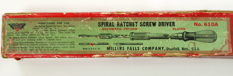 RD27975 Vintage Millers Falls Rachet Push Reversable Screwdriver No 610A Original Label & Box DSC05529