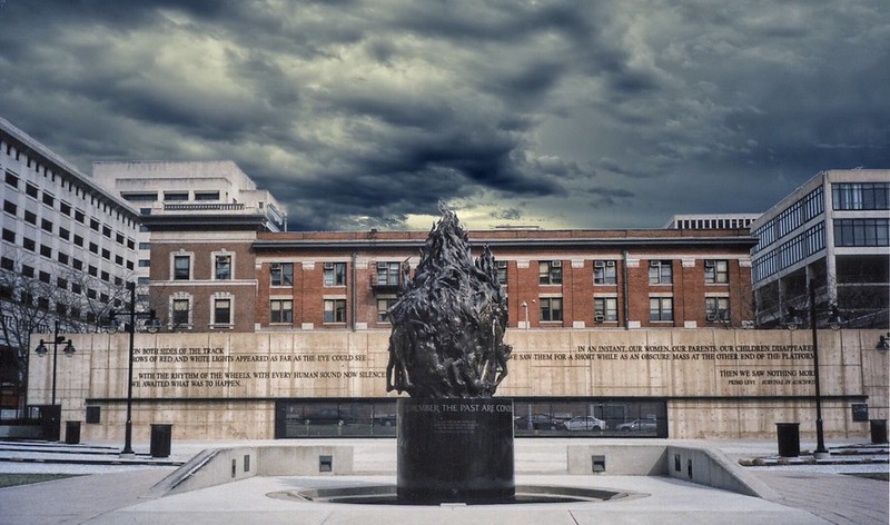 Baltimore  Maryland ~  Holocaust Memorial - Memory Kristallnacht, Night of Broken Glass - Overview A stark reminder of the six million Jews who lost their lives in Europe between 1933 and 1945, this site offers sculptures and a memorial center.