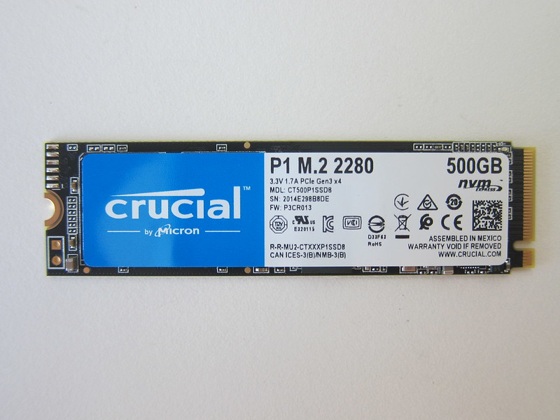 Crucial P1 500GB NVMe M.2 SSD - Front