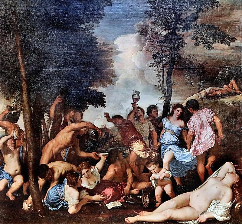 IMG_4430QC Padovanino (Alessandro Varotari) 1588-1649 Venise La Bacchanale des Andriens;   The Andrians;   vers 1620  Copie de Tiziano   Copy of Tiziano Bergame Accademia Carrara  (original au Prado)